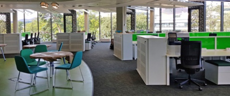 Artist impression of office desk space at the Roslin Innovation Centre