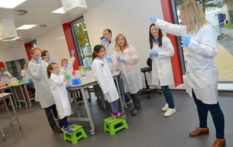 Photo of participants in a workshop in the teaching lab at the Easter Bush Science Outreach Centre