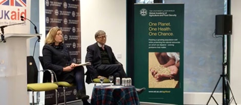 photo of Bill Gates and UK Secretary of State for International Development @Penny Mordaunt visit to Easter Bush Campus and launch University of Edinburgh Global Academy of Agriculture and Food Security - image credit UoE