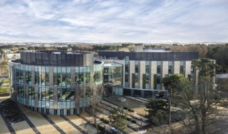 aerial photo of the exterior Roslin Innovation Centre - image credit University of Edinburgh supplied by SG Photography Ltd