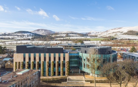 photo of Roslin Innovation Centre with a view over Easter Bush Campus to the Pentlands  - copyright University of Edinburgh