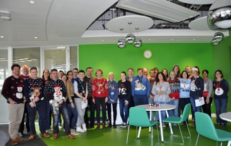 Christmas jumper line up at Roslin Innovation Centre Christmas Quiz event
