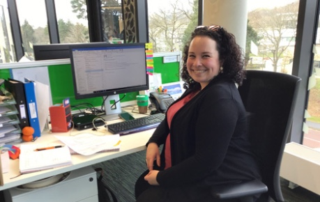 photo of Jess Wood, Assistant Administrator and Tenant Liaison at office desk - Roslin Innovation Centre