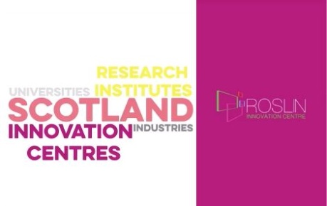 Visit Scotland Business community words and Roslin Innovation Centre logo
